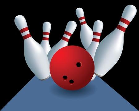 quilles: Skittles et bille. Bowling. Quilles sur un fond noir