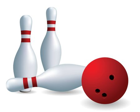 Bowling. Skittles and ball on a white background Vector