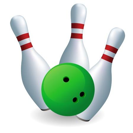 quilles: Bowling. Skittles et la bille sur un fond blanc Illustration