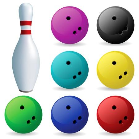 pelota caricatura: Bowling. Bolos y bolas sobre un fondo blanco