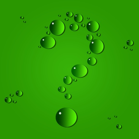 Water drops. The question-mark on a green background photo