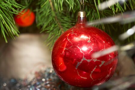 Xmas tree. Xmas glass sphere.  Sparkling tree ornament  photo