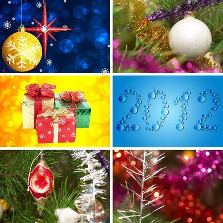 Xmas collage. Xmas glass sphere.  Sparkling tree ornament Stock Photo - 11782114