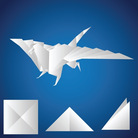 A paper dragon on a blue background. Origami Vector