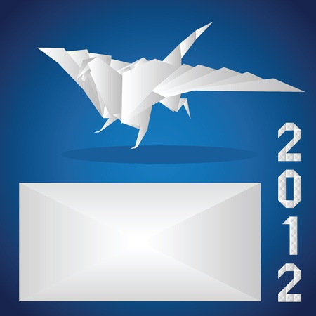Origami. 2012. A paper dragon on a blue background Vector