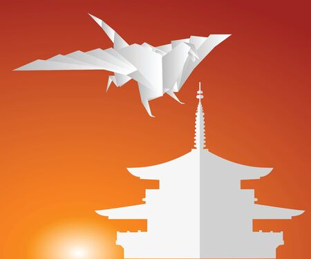 A paper dragon on a background of the sky. Origami Vector