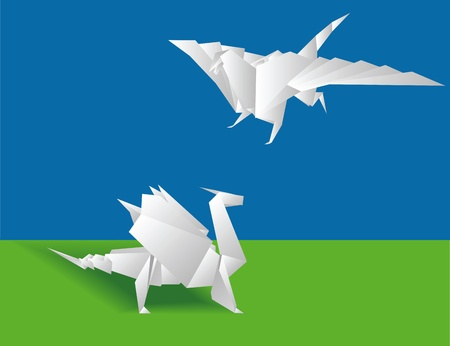 Origami. Two Chinese paper dragons on a green background Vector