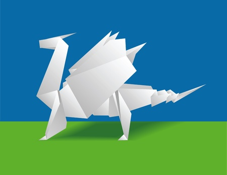 Chinese paper dragon on a green background. Origami Vector