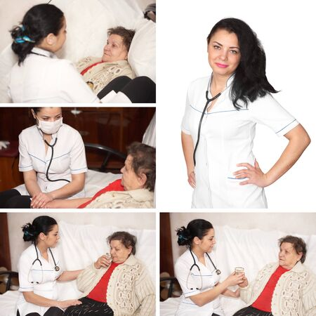 Collage. Senior woman is visited by her doctor photo