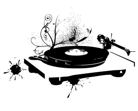 giradisco: Dj mix su uno sfondo bianco. Vinile Vettoriali