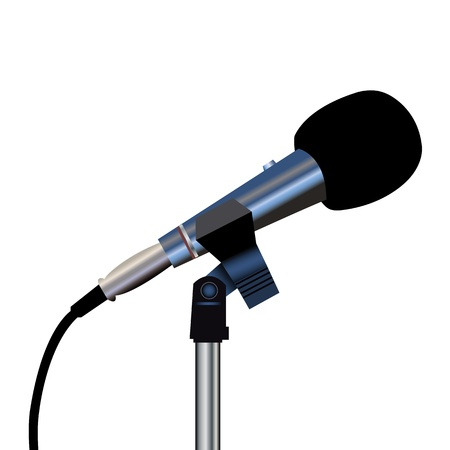 Microphone with a cord on a white background Stock Vector - 12358590