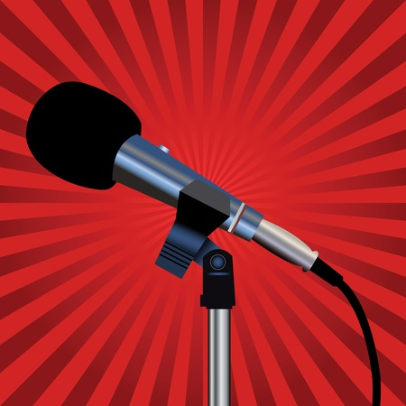 Microphone with a cord on a red background Vector