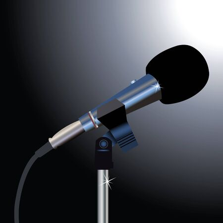 studio microphone: Microphone with a cord on a black background