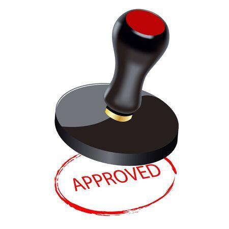 approved stamp: Selle en un fondo blanco. Aprobado. Un s�mbolo de los negocios
