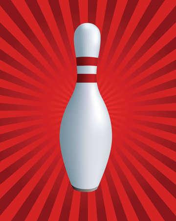 quilles: Skittles sur un fond rouge. Un symbole de sport