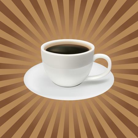 sip: La taza de caf� sobre un fondo marr�n. Almuerzo Vectores