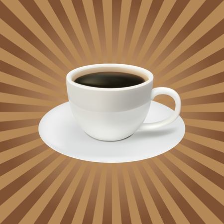 The coffee cup on a brown background. Lunch Vector