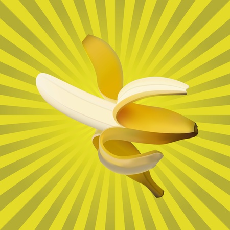 Ripe banana on a yellow background. A fruit Stock Vector - 12491704