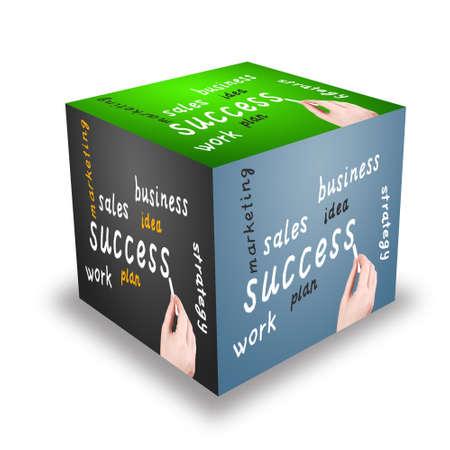 Cube  The business plan is written on a blackboard photo