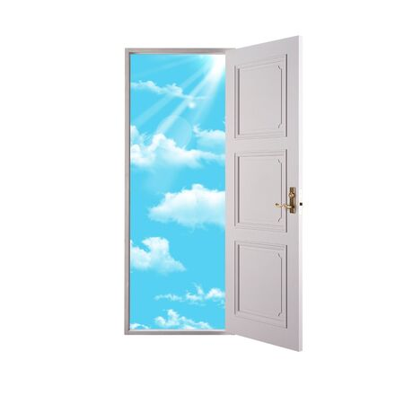 Open doors and clouds on a white background Stock Photo - 13123659