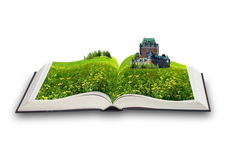 The open magic book  The castle in the book Stock Photo - 13535572