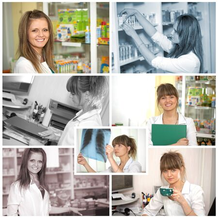 Collage  Chemist woman standing in pharmacy drugstore  Pharmacist at pharmacy photo