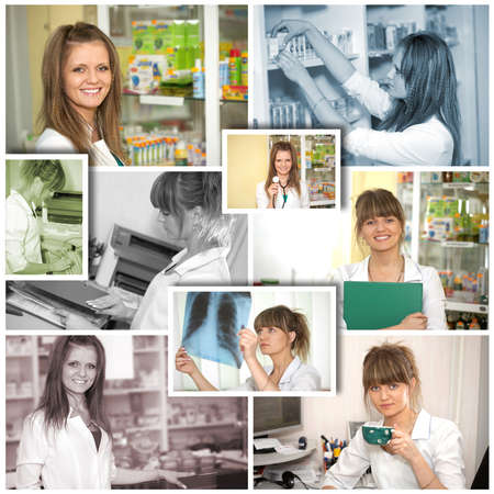 Chemist woman standing in pharmacy drugstore  Pharmacist at pharmacy photo