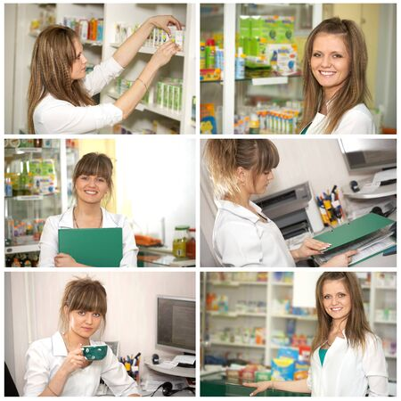 Collage  Chemist woman standing in pharmacy drugstore  A female portrait Standard-Bild
