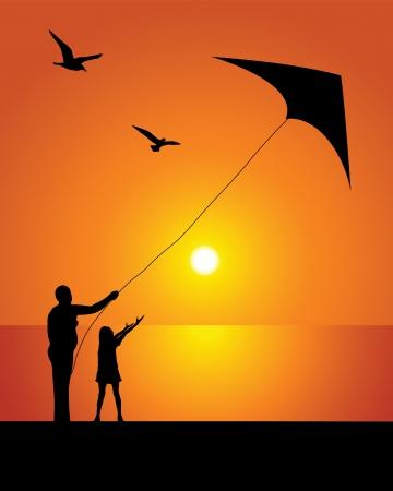凧: 夕方の空の背景にカイトのシルエット