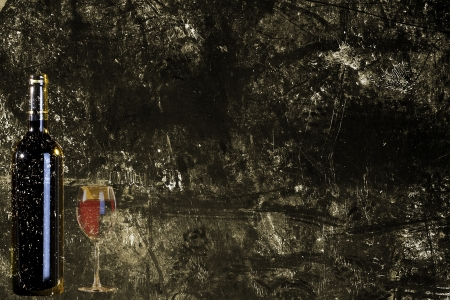 glass fiber: Wine in a bottle on the old brown paper Stock Photo