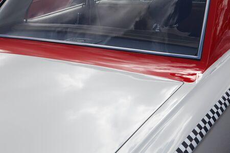 Red retro car. Detail of retro car  photo