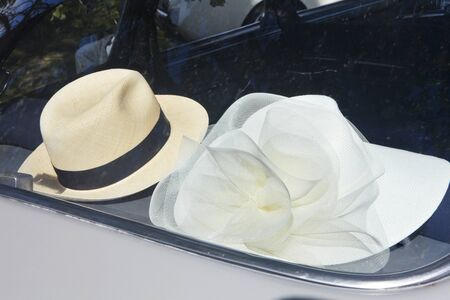 Hat. Retro car. Detail of retro car  photo