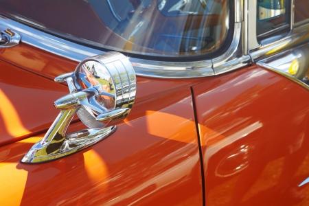 Rear-view mirror. Retro car. Detail of retro car  photo