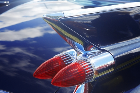 Blue retro car. Detail of retro car  photo