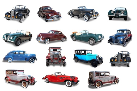 Retro the car on a white background  Isolated collage photo
