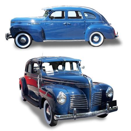 coche clásico: Azul un retro el coche sobre un fondo blanco. Establecer