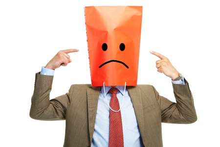 deplorable: Man with a box on a head, isolated over a white background Stock Photo