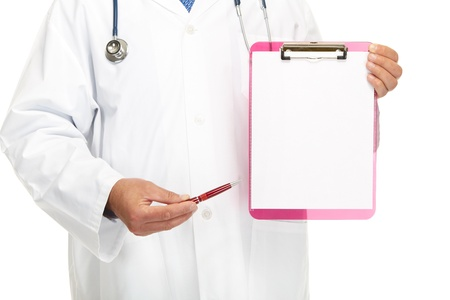 Doctor showing blank clipboard to write it on your personal message or advice photo