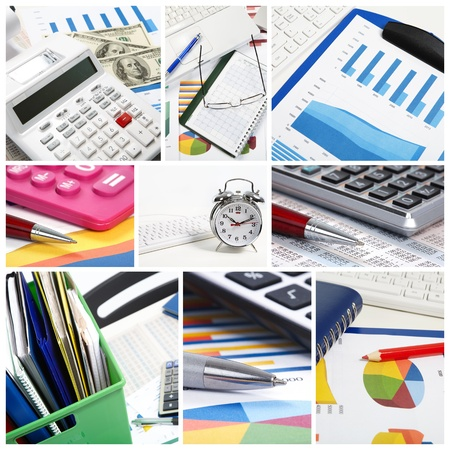 Collage. Graphs, charts, business table in the office Stockfoto