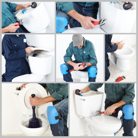 stoppage: Collage. Plumber with a toilet plunger. The worker Stock Photo