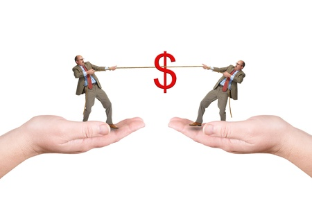pull over: Two businessmen pull a cord, isolated over a white background