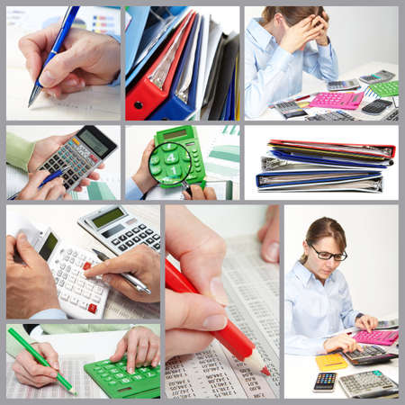 The collage. Businesspeople at office near calculators