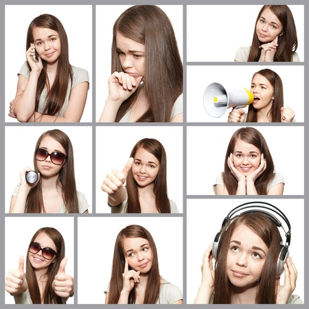 Portrait of attractive young female. The collage photo