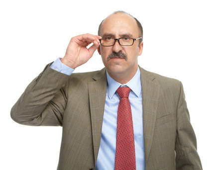 solicitous: The businessman in spectacles on a white background