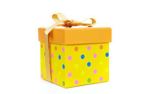 fancy box: Yellow fancy box on a white  Stock Photo