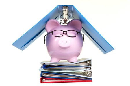 aegis: Pink piggy bank and documents on a white