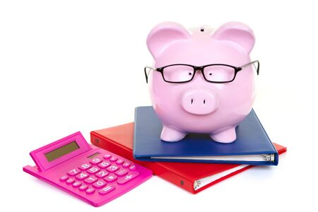 The pink  pig bank and documents and calculator photo