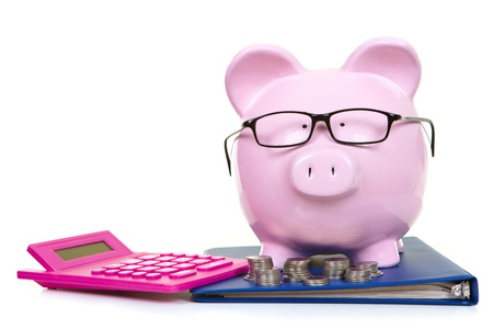 The pink  pig bank and documents and coins photo