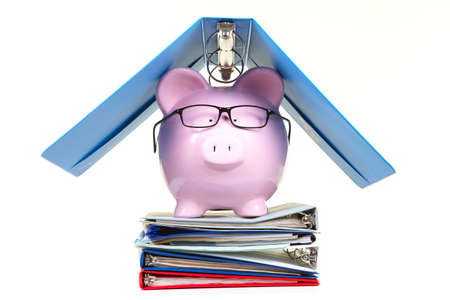 aegis: Pink piggy bank and documents on a white background