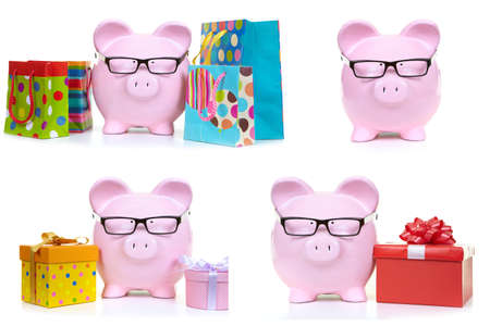 The pink  pig and multicolored bags on a white background photo